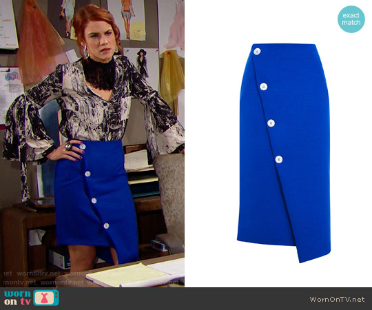 Topshop Statement Button Midi Skirt worn by Sally Spectra on The Bold & the Beautiful