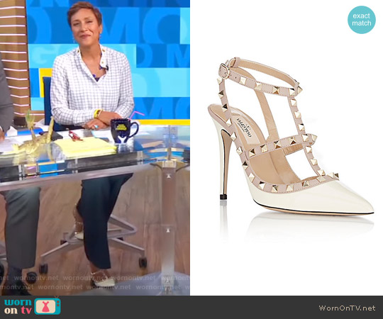 Ivory Patent Rockstud Cage Heels by Valentino worn by Robin Roberts on Good Morning America