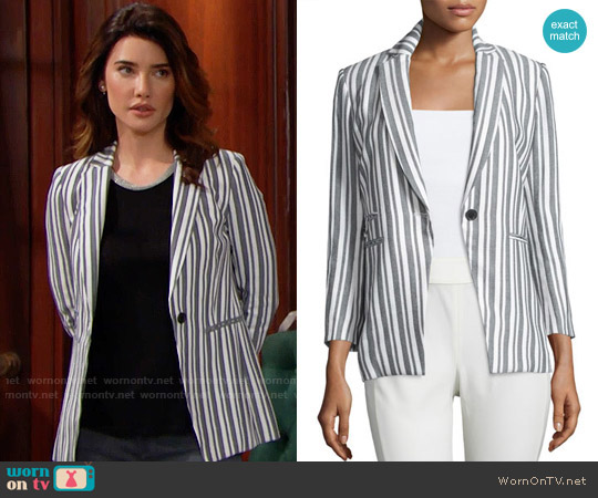 Veronica Beard Beatriz Striped Jacket worn by Steffy Forrester (Jacqueline MacInnes Wood) on The Bold & the Beautiful