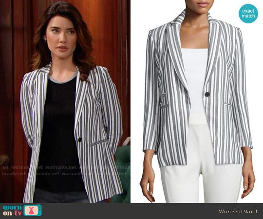 Veronica Beard Beatriz Striped Jacket worn by Jacqueline MacInnes Wood on The Bold & the Beautiful