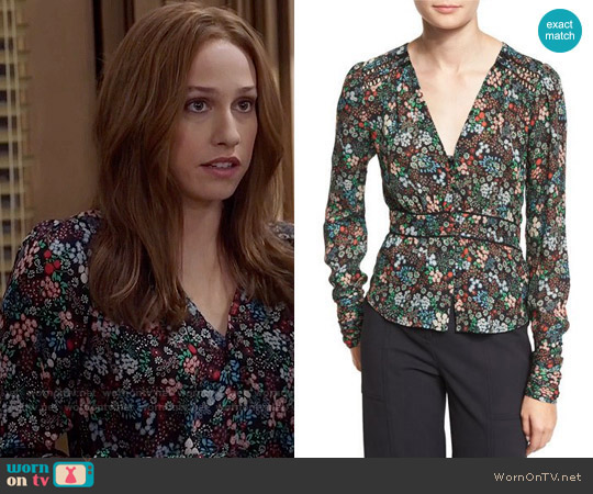 Veronica Beard Ripley Ruched Floral Silk Boho Blouse worn by Catherine Meyer (Sarah Sutherland) on Veep