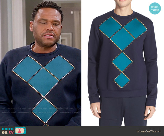 Versace Geometric Studded Sweatshirt worn by Andre Johnson (Anthony Anderson) on Blackish