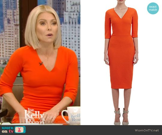 Faille Sheath Dress by Victoria Beckham worn by Kelly Ripa  on Live with Kelly & Ryan