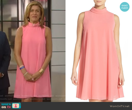 Mock Neck Chiffon Trapeze Dress by Vince Camuto worn by Hoda Kotb (Hoda Kotb) on Today