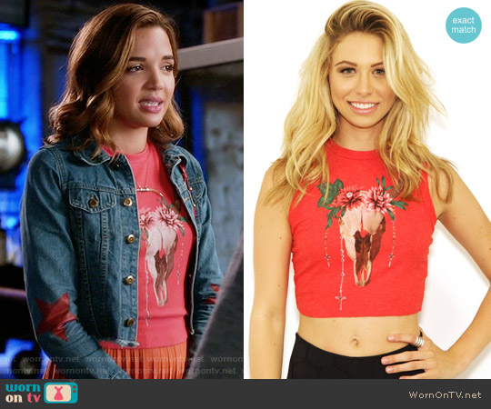 Wildfox Desert Dahlia Keaton Tank in Free Love Red worn by Georgie Flores on Famous in Love
