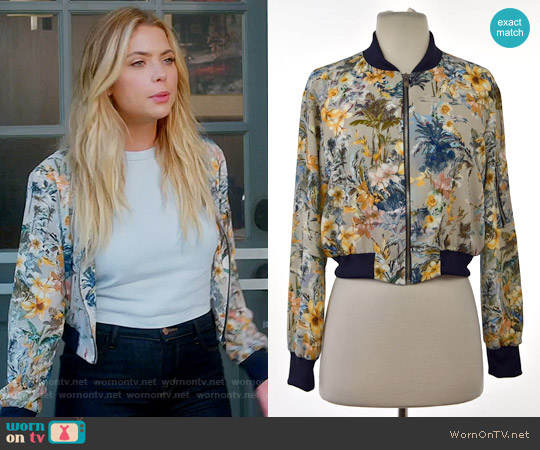 Zara Floral Print Bomber Jacket worn by Hanna Marin (Ashley Benson) on PLL