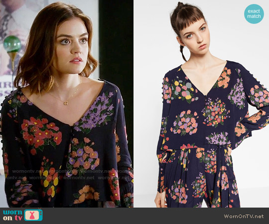 Zara Flowing Printed Top worn by Aria Montgomery (Lucy Hale) on PLL