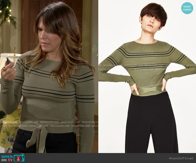 Zara Cropped Sweater worn by Chloe Mitchell (Elizabeth Hendrickson) on The Young & the Restless