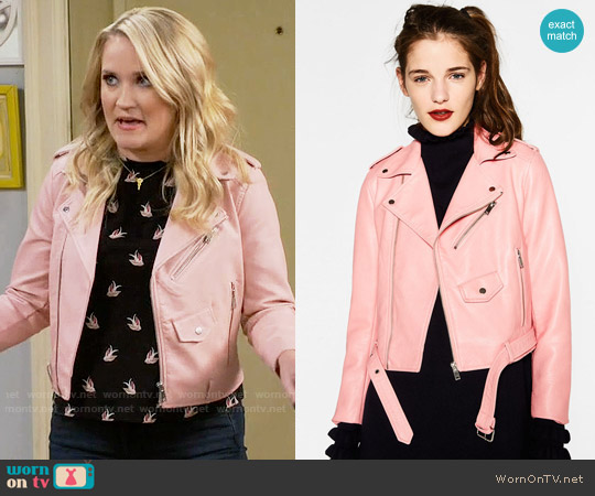 Zara Pink Leather Effect Jacket worn by Emily Osment on Young & Hungry