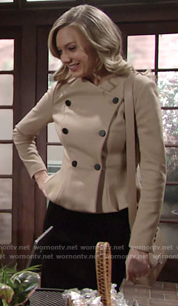 Abby's camel double-breasted peplum jacket on The Young and the Restless