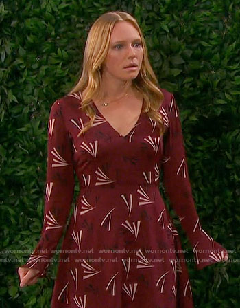 Abby's red printed long sleeve dress on Days of our Lives