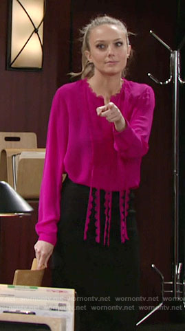 Abby's pink scalloped fringe blouse on The Young and the Restless