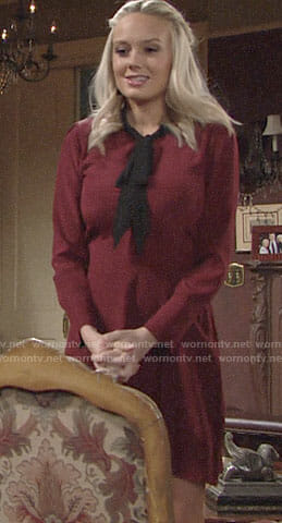 Abby's burgundy dress with black tie neck on The Young and the Restless