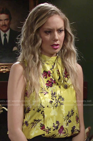Abby's yellow floral tie neck top on The Young and the Restless