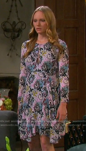 Abby's pink printed long-sleeve dress on Days of our Lives