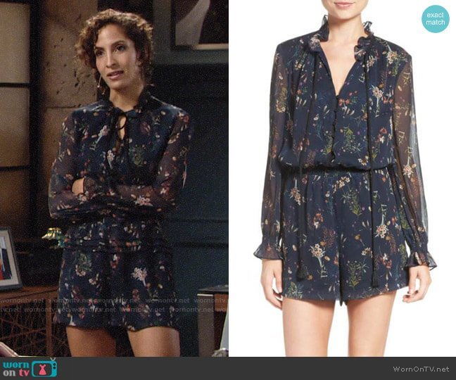 Adelyn Rae Blouson Romper worn by Christel Khalil on The Young & the Restless