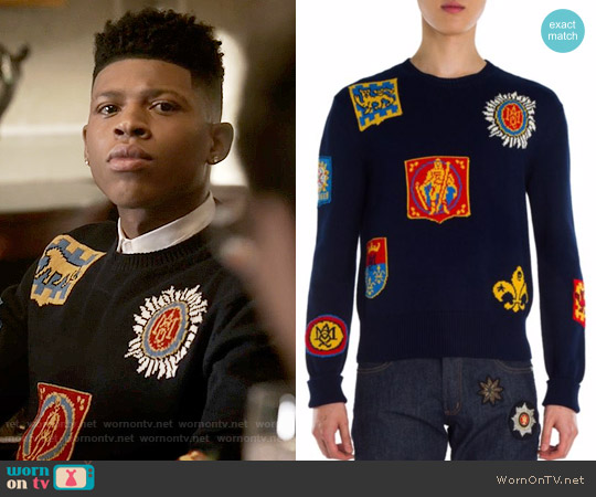 Alexander McQueen Jacquard Badge Sweater worn by Bryshere Y. Gray on Empire