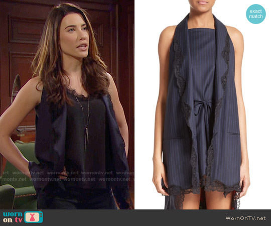 Alexander Wang Lace Trim Pinstripe Vest worn by Steffy Forrester on The Bold & the Beautiful