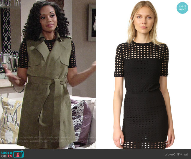 T by Alexander Wang Jersey Jacquard Top worn by Hilary Curtis (Mishael Morgan) on The Young & the Restless