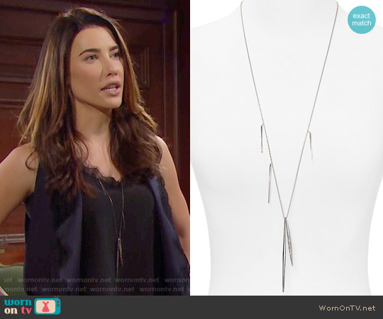 Alexis Bittar Crystal Encrusted Long Spear Necklace worn by Jacqueline MacInnes Wood on The Bold & the Beautiful
