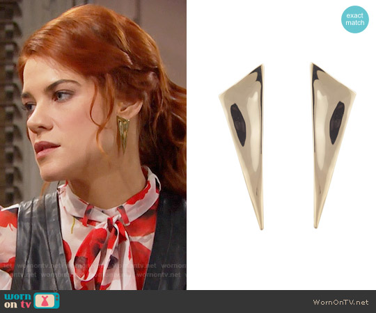 Alexis Bittar Liquid Gold Angled Pyramid Post Earring worn by Courtney Hope on The Bold & the Beautiful