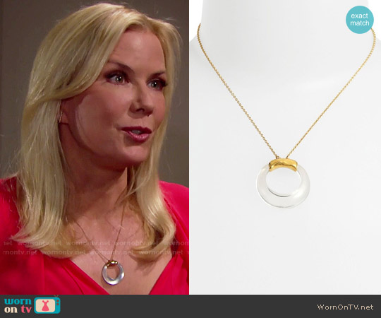 Alexis Bittar 'Lucite®' Clear Open Circle Pendant Necklace worn by Brooke Logan on The Bold & the Beautiful