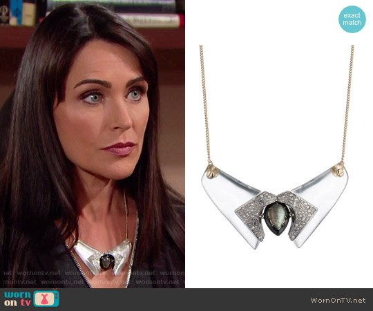 Alexis Bittar Screw Studded Bib Necklace worn by Rena Sofer on The Bold & the Beautiful