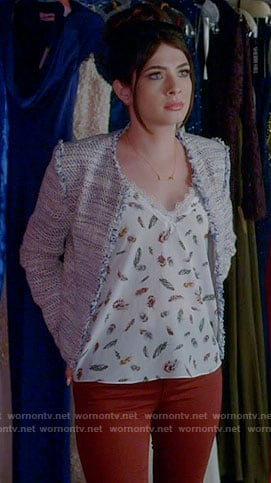 Alexis's feather print top and tweed jacket on Famous in Love