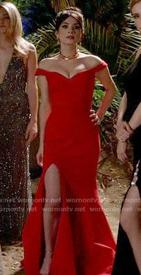 Alexis's red off-shoulder gown on Famous in Love