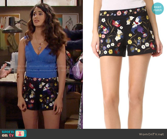 Alice + Olivia Marisa Embroidered Shorts worn by Darlita on The Bold & the Beautiful