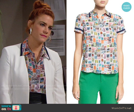 Alice + Olivia Osawald Top worn by Sally Spectra (Courtney Hope) on The Bold & the Beautiful