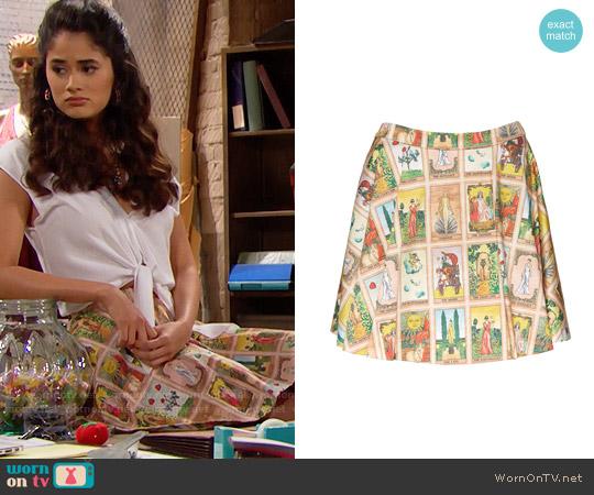 Alice + Olivia Tarot Blaise Skirt worn by Danube Hermosillo on The Bold & the Beautiful
