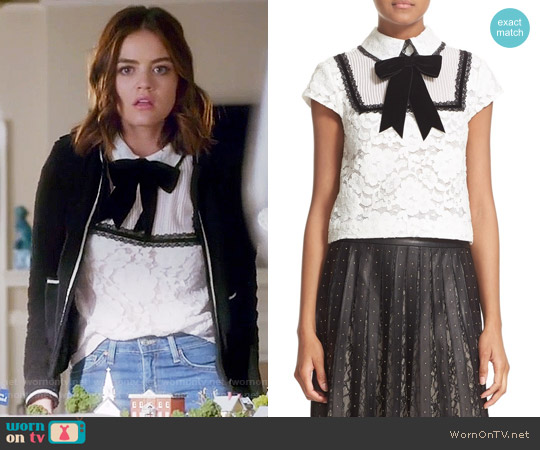 Alice + Olivia Vanetta Top worn by Aria Montgomery (Lucy Hale) on PLL