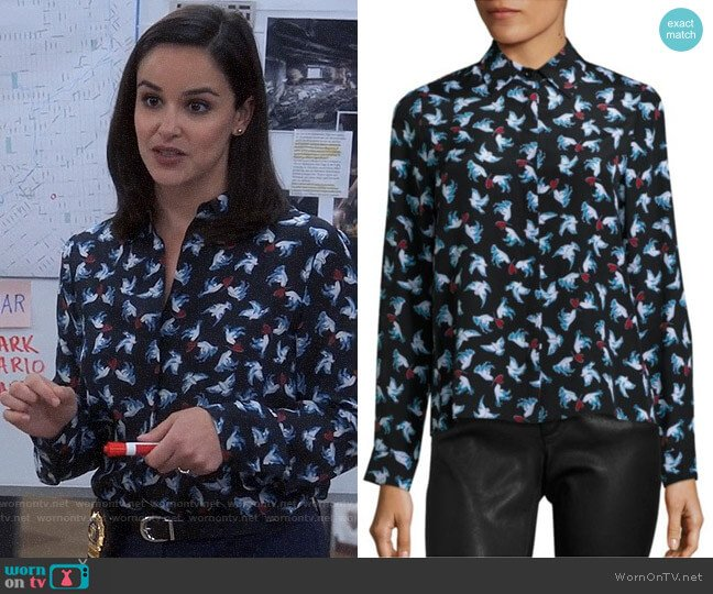 Alice + Olivia Willa Dove Shirt worn by Melissa Fumero on Brooklyn Nine-Nine