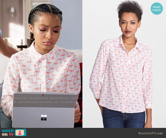 Alice + Olivia Willa Shirt worn by Yara Shahidi on Blackish