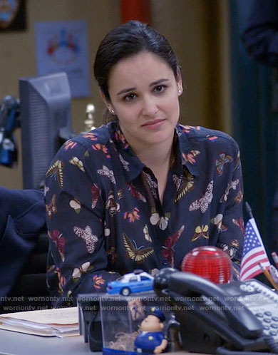 Amy's butterfly print shirt on Brooklyn Nine-Nine