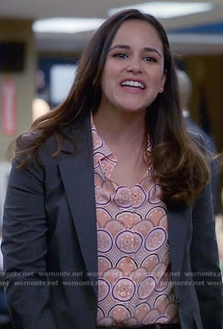 Amy's orange print shirt on Brooklyn Nine-Nine
