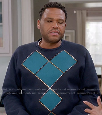 Andre's teal studded sweatshirt on Black-ish