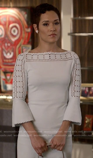 Anika's white laser cutout dress on Empire