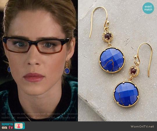 Anthropologie Marchmont Drops in Blue worn by Emily Bett Rickards on Arrow