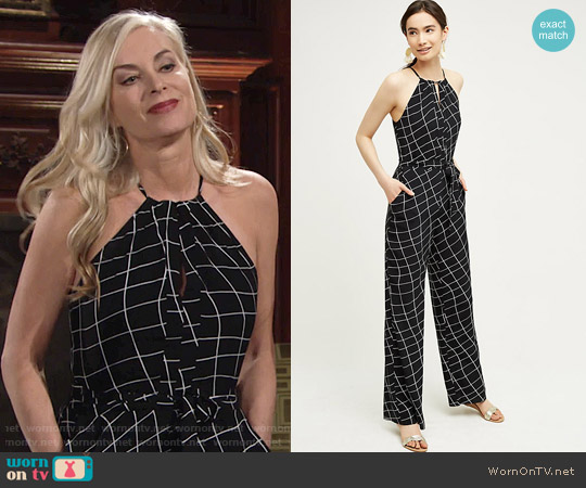 Sanctuary Windowpane Halter Jumpsuit worn by Eileen Davidson on The Young & the Restless