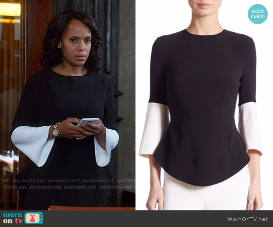 Antonio Berardi Bell Sleeve Colorblock Blouse worn by Olivia Pope (Kerry Washington) on Scandal