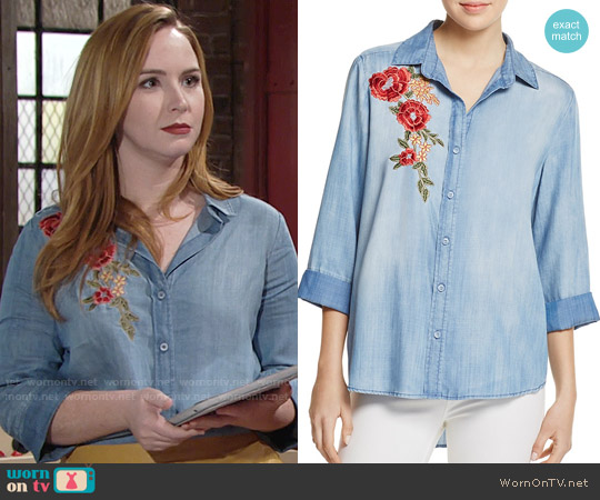 Aqua Button Down Embroidered Chambray Shirt worn by Camryn Grimes on The Young & the Restless