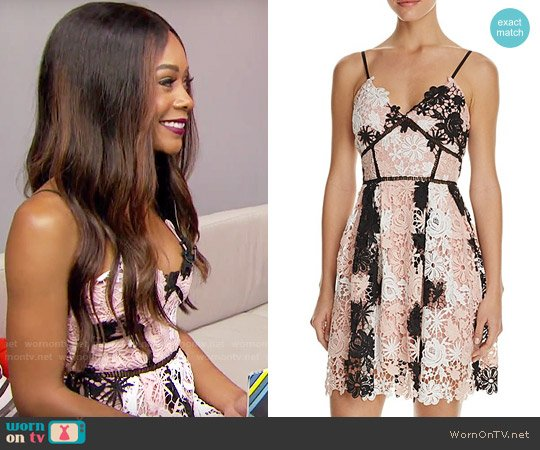 Aqua Multi Lace Empire Waist Cami Dress worn by Zuri Hall on E! News