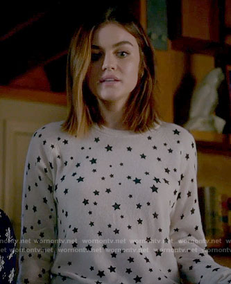 Aria's star print sweater on Pretty Little Liars