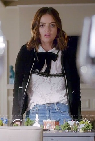 Aria's white top with black tie-neck and black jacket on Pretty Little Liars