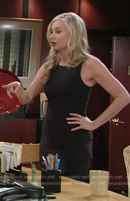 Ashley's black dress with ruffle front on The Young and the Restless