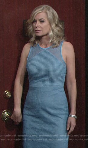 Ashley's blue mixed lace dress on The Young and the Restless