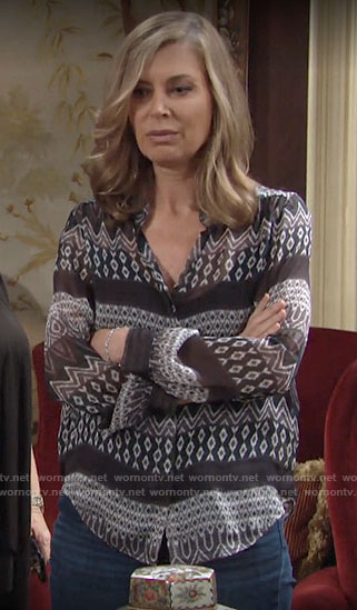 Ashley's mixed print blouse on The Young and the Restless