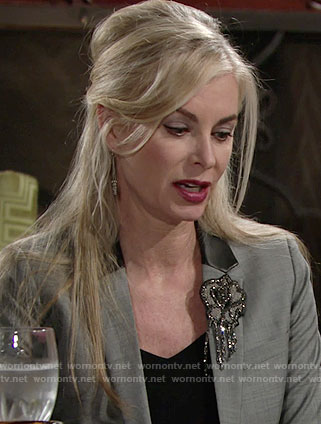 Ashley's embellished blazer with leather collar on The Young and the Restless